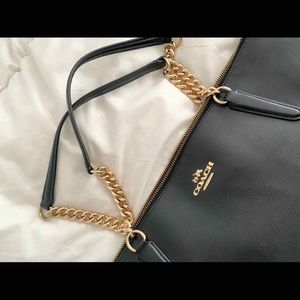 Authentic Coach Ava Chain Tote - Black Leather